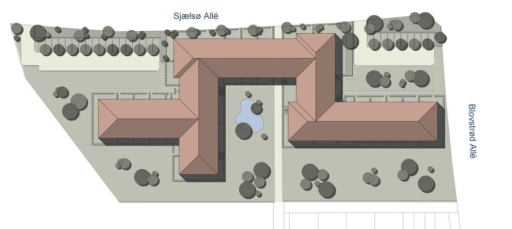 Skitseprojektet, som er udarbejder af Holsøe Arkitekter ApS, viser, at en del af de store parkeringsarealer vil blive indraget til grønt område, og den offentlige sti gennem bebyggelsen bibeholdes. Som det endvidere fremgår af projektet, er det ikke blot 'Pulterrummet' som man foreslår bliver ombygget, men hel bygningskomplekset.