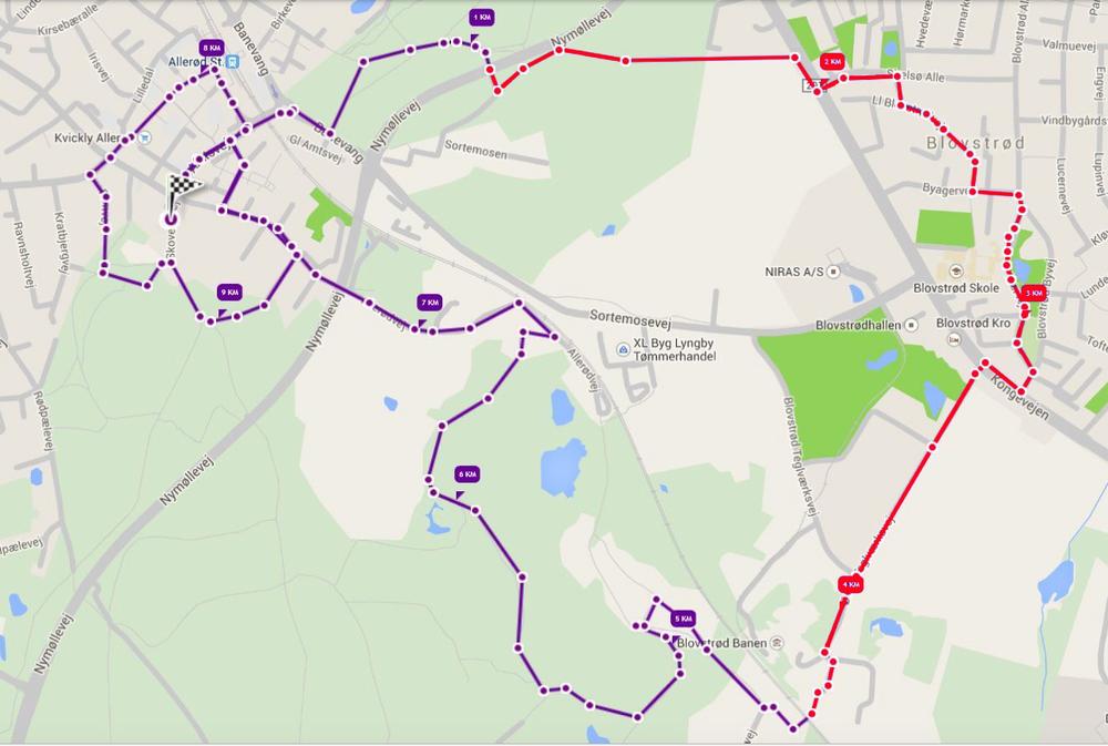 Det længste løb er på 10 km og går bl.a. gennem Blovstrød. AOB har med rødt markeret den del af ruten, som løber gennem Blovstrød.