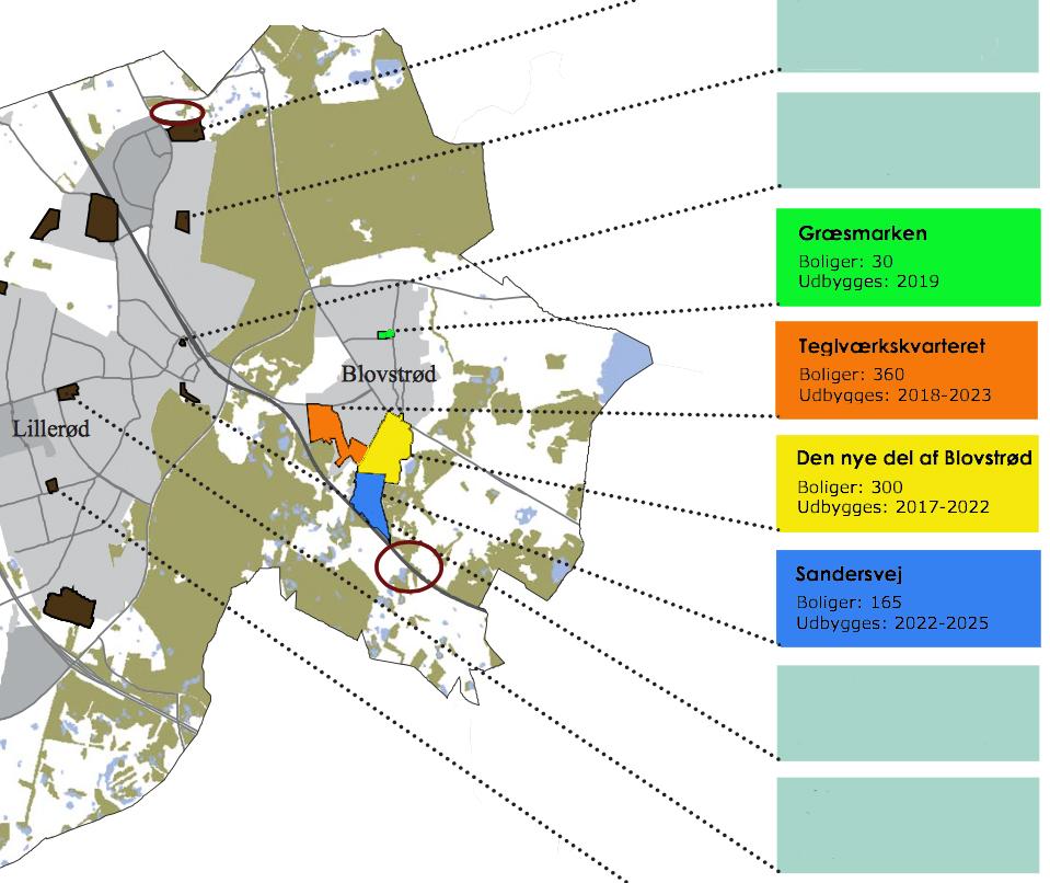 AOB har fokuseret påde fremtidige udbygninger i Blovstrød. Som det fremgår af de farvede markeringer, er der tale om fire boligområder: Græsmarken, Teglværkskvarteret, Det nye Blovstrød og Sandersvej. Illustration: Allerød Kommune. Farvemarkeringer: AOB
