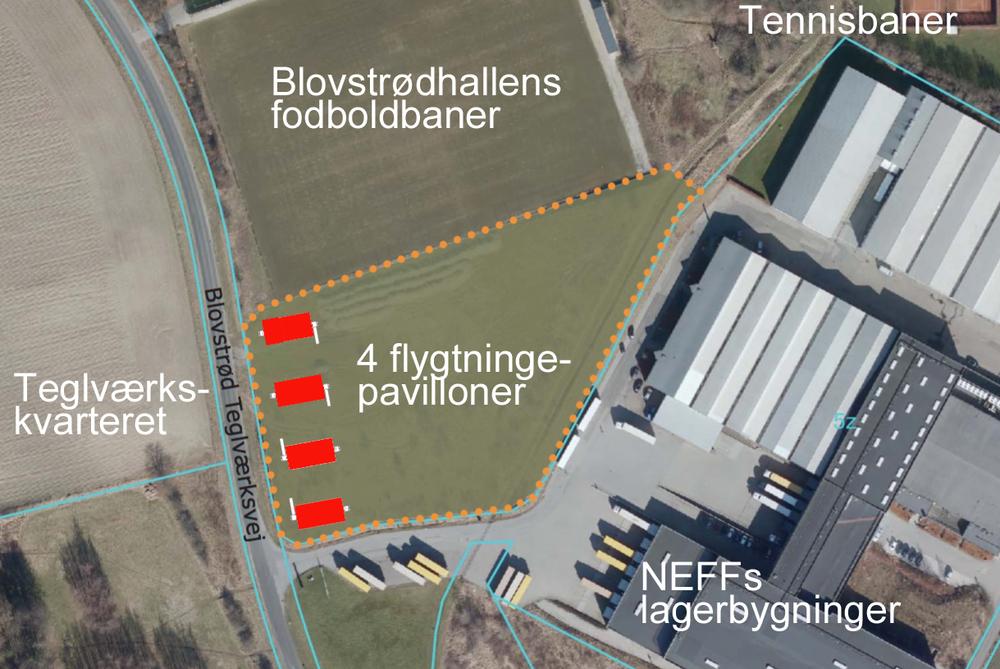 Kommunens planskitse (luftfoto) viser, at der i første omgang bliver tale om opførelsen af fire pavilloner. Orienterende tekst: AOB