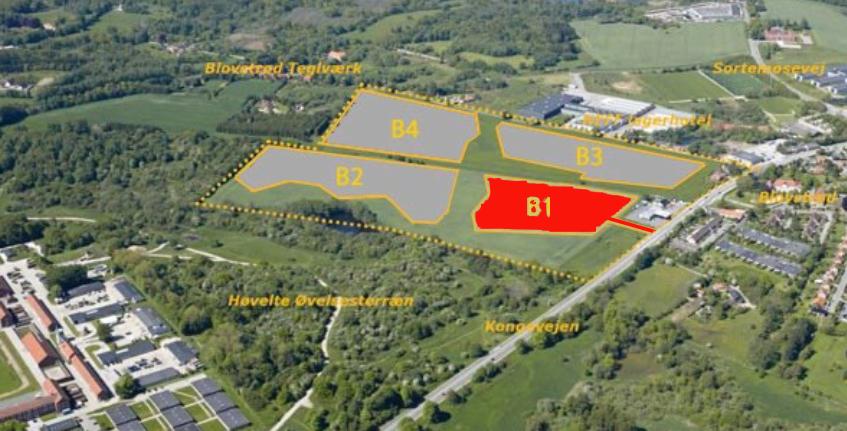 De ca. 75 boliger opføres påbyggefelt B.1, som er det eneste boligområde, der får indkørsel fra Kongevejen.