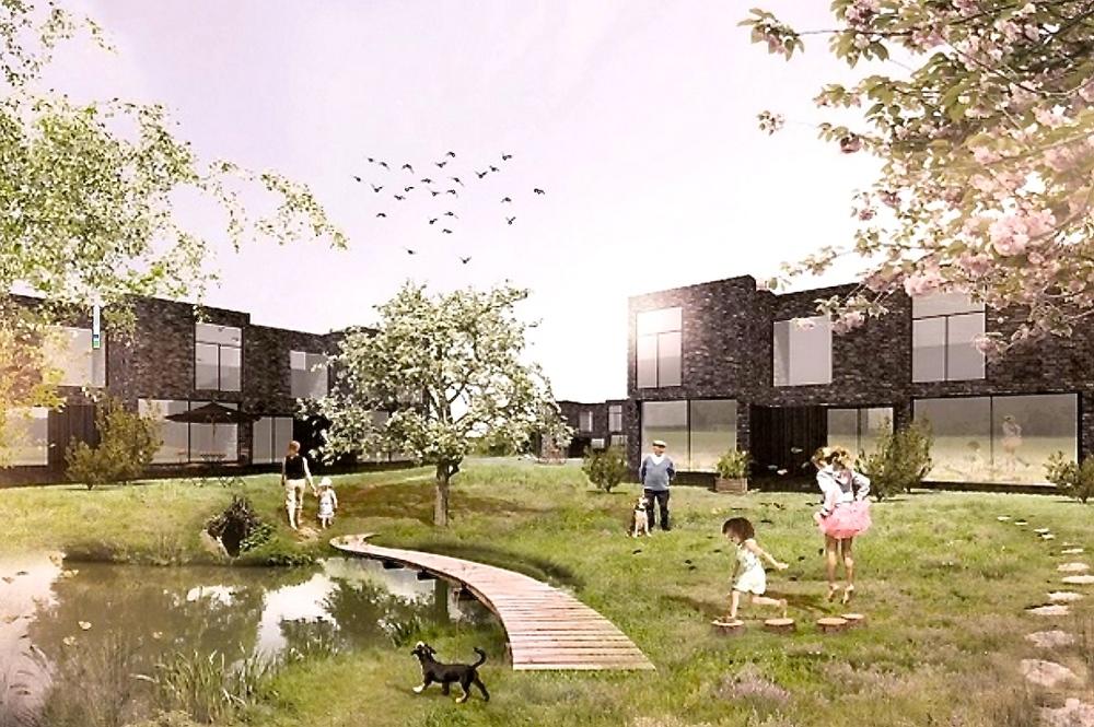 Det nye byggeprojekt i Blovstrød forventes realiseret i et samarbejde mellem NCC Bolig, Svendborg Architects og Schønherr Landskab. Her er arkitekternes første skitse af bebyggelsen.