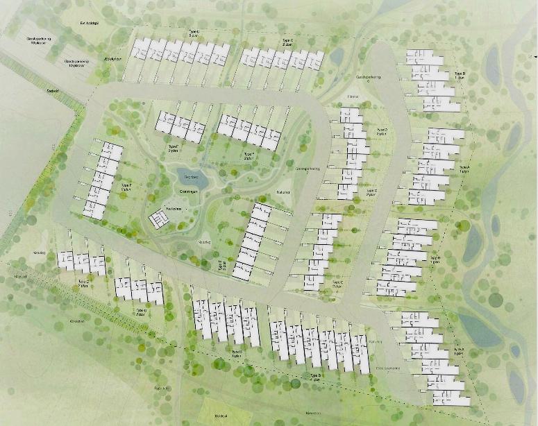 """I lokalpressen er der vist en plan over den fremtidige bebyggelse, men """"Hvad er op og ned på denne plan"""" spørger flere interesserede borgere."""