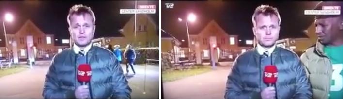 TV2-nyhederne havde i mandags en direkte udsendelse fra Center Sandholm om det ekstrem presset system pga. flygtningetilstrømningen til centret. Pludselig dukker en mand op af mørket og får afbrudt den direkte udsendelse.