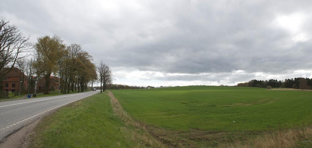 Det er på arealet til højre i billedet - op mod skoven, hvor der nu bliver opført almene boliger. Foto: AOB