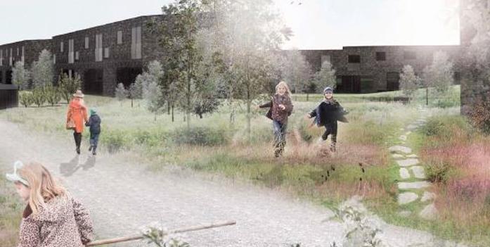Hvis man har lyst til at få medbestemmelse og indflydelse på projektet i det nye Blovstrød, så kan man kontakte NCC-Bolig,og vil såmodtage en invitation til et panel kaldet 'Fremtidens Boligbyggeri'.Illustration: Svendborg Architects