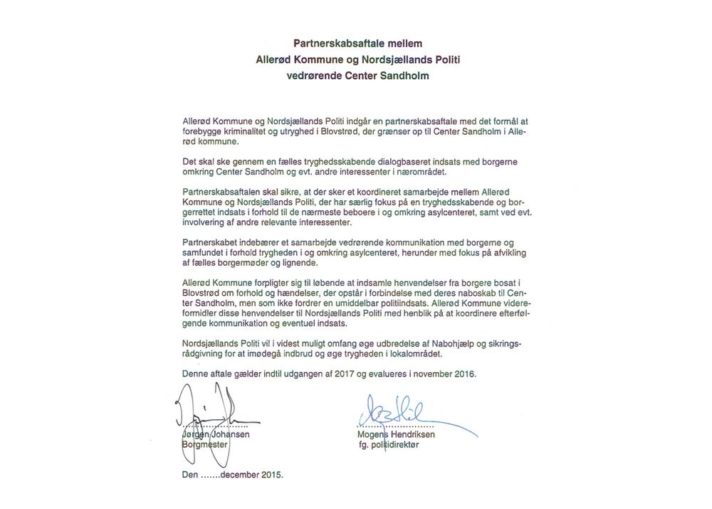 Partnerskabsaftalen mellem Allerød Kommune og Nordsjællands Politi.