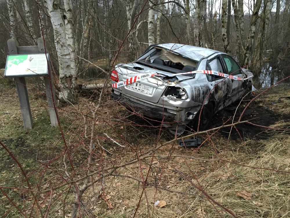 Personbilen endte i kanten af Sortemose-skoven. Foto: AOB