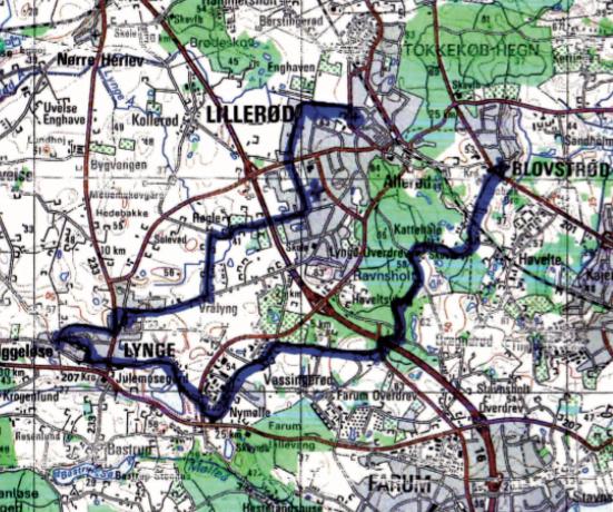 Kortet viser cykelturen, hvor man starter ved Lillerød Kirke og slutter ved Blovstrød Kirke.