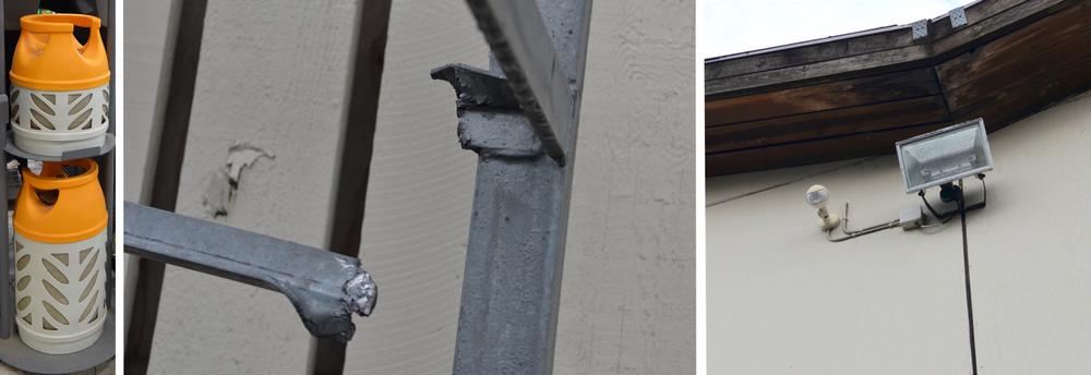 1. foto: De gasflasker, som er interessante for tyvene. 2. foto: Stålprofilerne, som er klippet/skåret over. 3. foto: Projektørerne, som nu er udtyret med en følesensor. Fotos: AOB