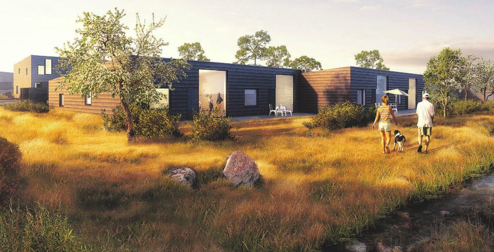 Sådan forestiller NCCs arkitekter, at bebyggelsen kan komme til at se ud.Illustration: Svendborg Architects