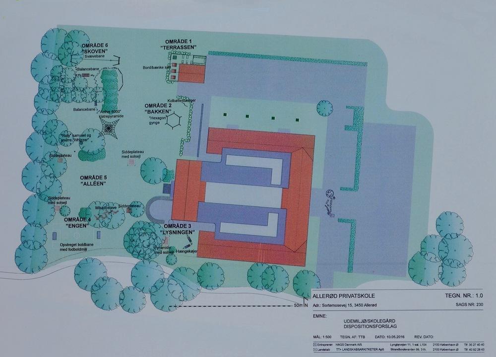 TT+ Landskabsarkitekter ApS havde udarbejdet et dispositionsforslag til privatskolens udemiljø/skolegård. Nedenfor vises eksempler på nogle af de mange aktivitetsmuligheder.