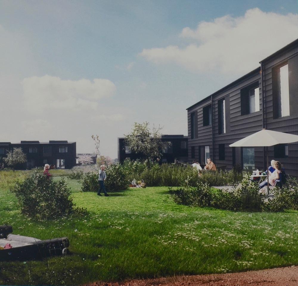 Drabæk Huse-bebyggelsen består af 30 1-plans og 48 2-plans rækkehuse. Illustration: Svendborg Architects ApS
