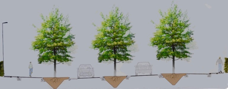 """Sådan forestiller AOB sig, at """"Den grønne byport""""kunne præsentere sig, når man kommer fra Birkerød og kører ind i Blovstrød. Dvs. også med den midterste række træer."""