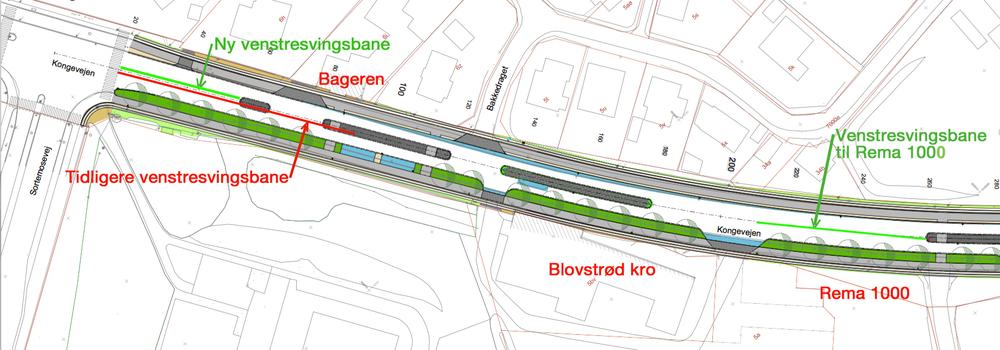 Som det fremgår af projektmaterialet, er den nye vestresvingsbane til Sortemosevej (grøn markering)blevet reduceret med ca. 30 meter i forhold til den tidlige svingbane (rød markering). Vestresvingsbanen til Rema 1000 er længere end svingbanen til Sortemosevej - det virker umiddelbart ulogisk! Projekttegning: NIRAS. Grafik og tekst : AOB
