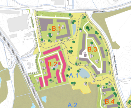 Byggefelt B.2 (markeret med rødt)er udlagt til almene lejeboliger i Blovstrød ved Teglværksvænge. Det skal bemærkes, at den viste planløsning er kommunens tidligere oplæg til udformning af bebyggelsen, og altså ikke Lejerbos projektforslag.