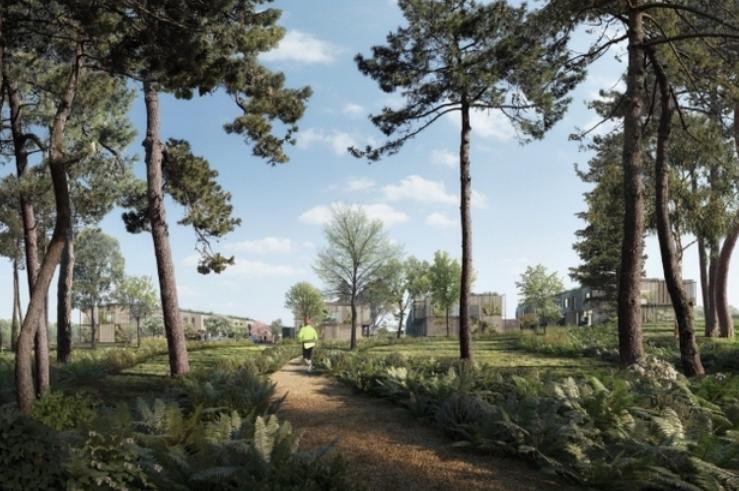 Sådan tænker arkitekterne,at den nye bebyggelse vil fremstå, når man står i den eksisterende 'Teglværksskoven'og kigger mod nord. Illustration: Beauty and the Bit / White arkitekter A/S