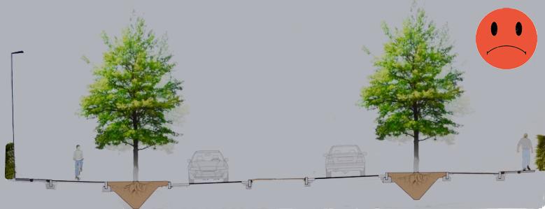 Kommunen har i projektet fjernet den midterste række træer, bl.a fordi man ikke mener at afstandsreglen kan overholdes - hvilket dog ikke er korrekt. Det bliver æstetiske en noget tam løsning med kun to række træer! Illustration:AOB