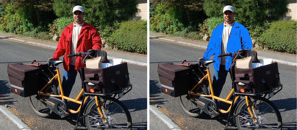 Som konsekvens af, at Post Danmark i 2009 blev en del af PostNord-koncernen, skal vi til at vænne os til vore postbude skifter farve på jakkerne - fra rød til blå. Manipuleret foto: AOB