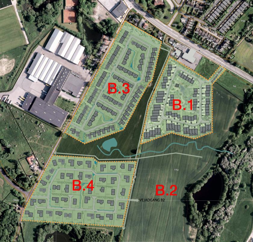De to aktuelle boligbebyggelser B3 og B4 ligger op langs Østre Teglværksvej. Bebyggelsen til højre på planen (B.1) er Drabæk Huse. Som det fremgår af planen foreslås, at der udlægges en gennemkørende vej,i gennem boligområdet B4 med adgang til det fremtidige boligområde B2.Illustration: LE 34