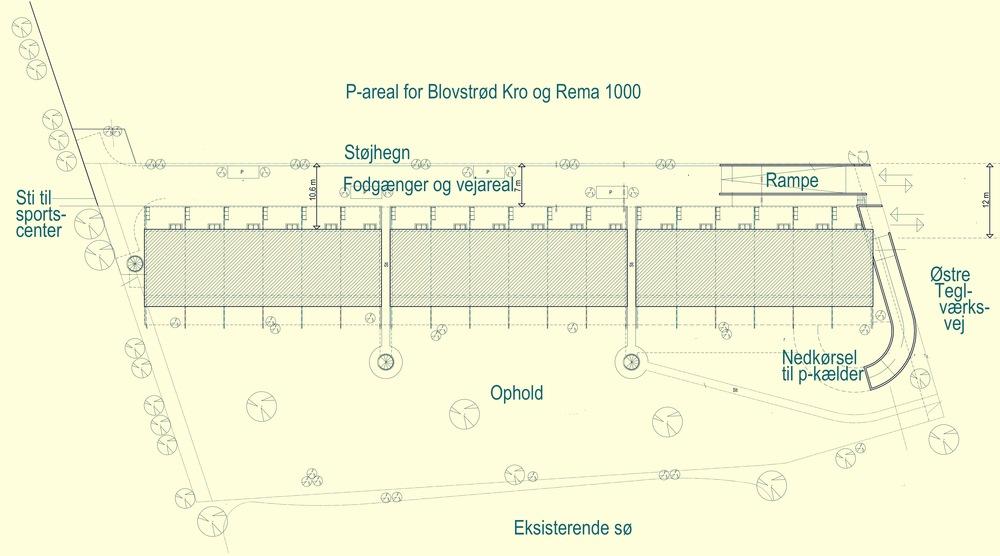 Planen viser de 18 rækkehuse, som udføres med p-kælder for beboerne. Illustration: Frits Hansens Tegnestue. Tekster: AOB