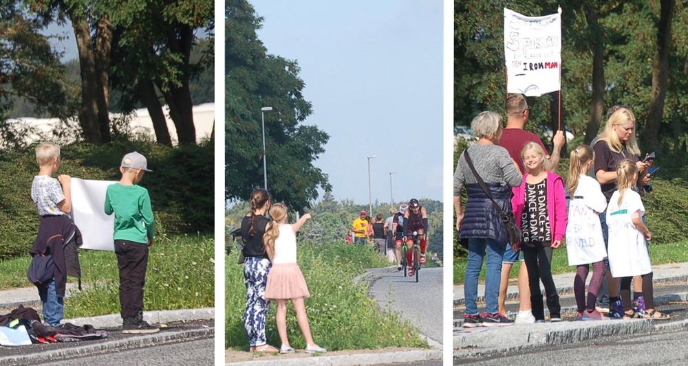 Mange børn fulgte løbet tæt og havde medbragt skilte og bannere. Foto: AOB