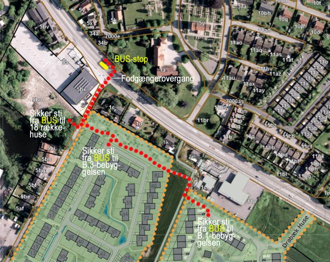Hvis busstoppestedet for den nordgående trafik placeres ud for Rema 1000, har AOB med rødt markeret de sikre og nærmeste adgangsveje fra stoppestedet til bebyggelserne som ligger syd-vest for Kongevejen. Ved denne løsning undgår de gående helt trafikken langs Kongevejen. Illustration: AOB