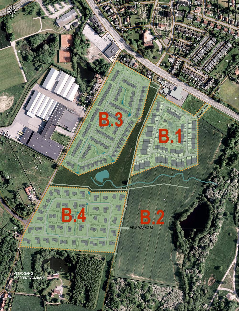 Arkitektens planløsning til B.3 og B.4 skal betragtes som et idéoplæg til lokalplanen.   Der vil ikke blive tale om 3-etage bebyggelser, men kun 1 og 2 etagers rækkehuse og villaer.     Illustration: LE34