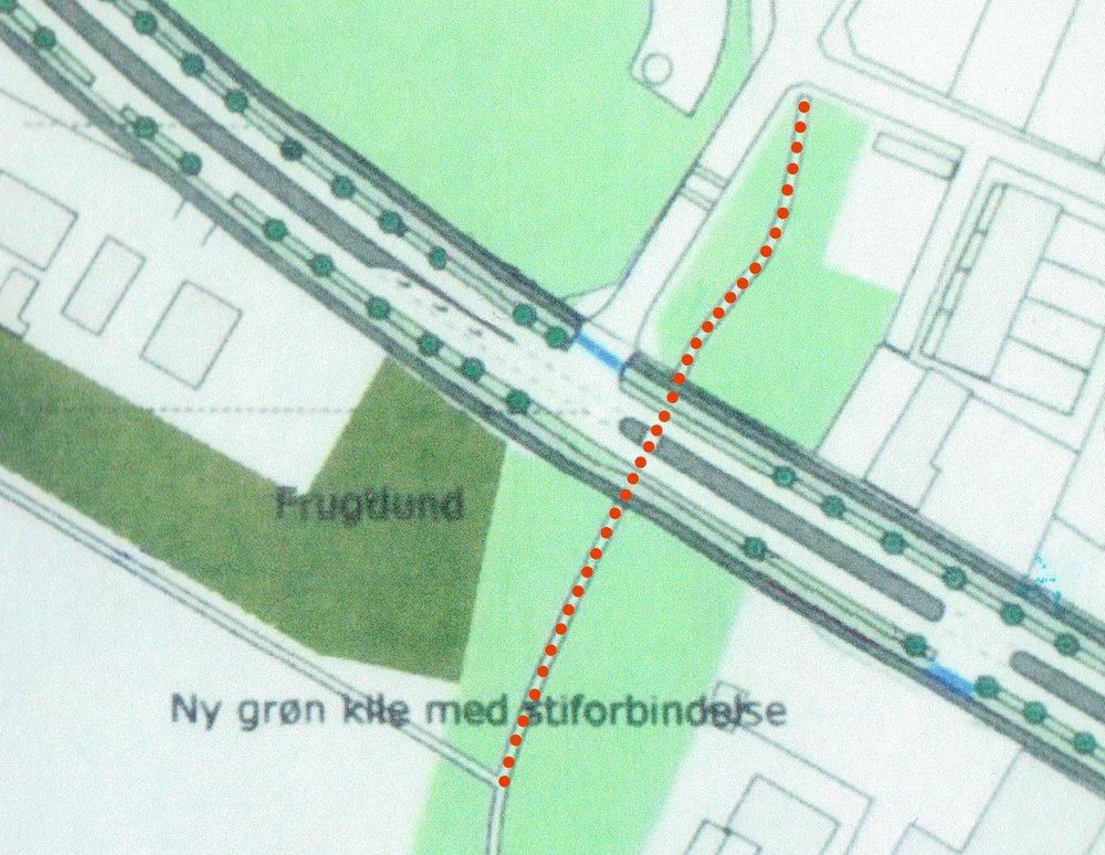 Udsnit af NIRAS' plan, som viser den brede grønne kile (vor to huse er fjernet) med stiforbindelsen - markeret med rødt - over Kongevejen ved Blovstrød Byvej.