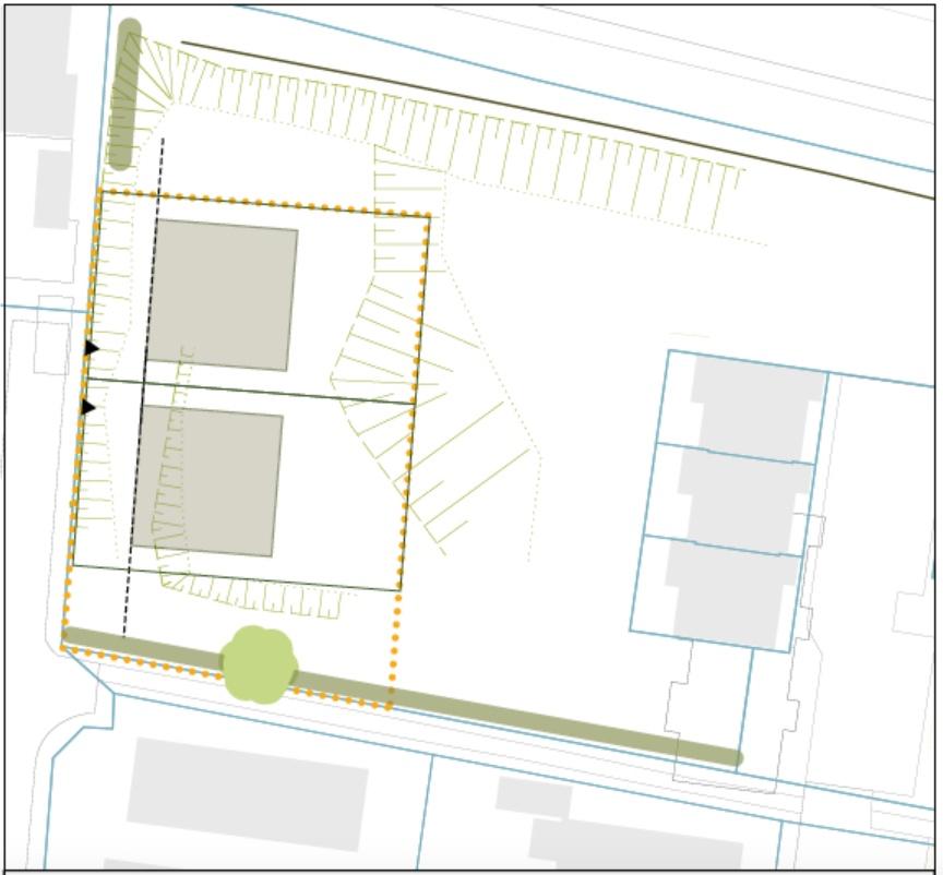 Bilag til lokalplanforslaget. De to nye parcelhuse får adgang fra Elmevej. De tre eksisterende rækkehuse til højre på planen har adgang fra Parkvej.