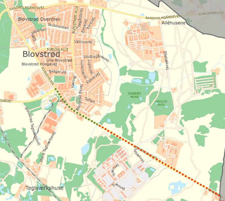 På kortet er med rødt vist, hvor der nu udlægges almindelig asfalt, og til foråret vil der blive udlagt støjdæmpende asfalt på den nyrenoverede del af Kongevejen - markeret med grønt. Grafik: AOB