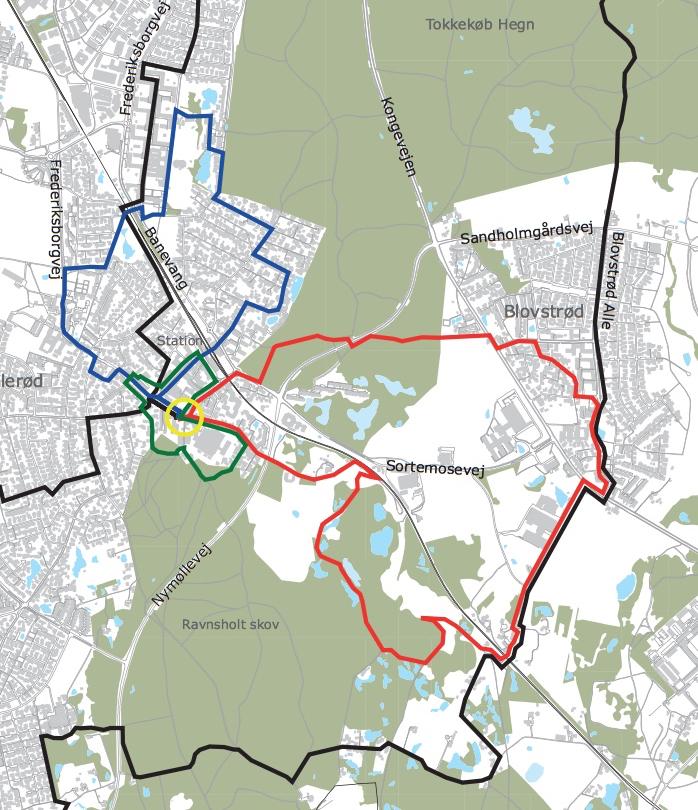 Udsnit af oversigtskort. Startstedet for Blovstrød-ruten (rød markering) på 7,5 km er ved biblioteket i Lillerød - men der er jo ikke noget i vejen for, at man som Blovstrød-borger starter i Blovstrød - pilene vil hele tiden vise vej.