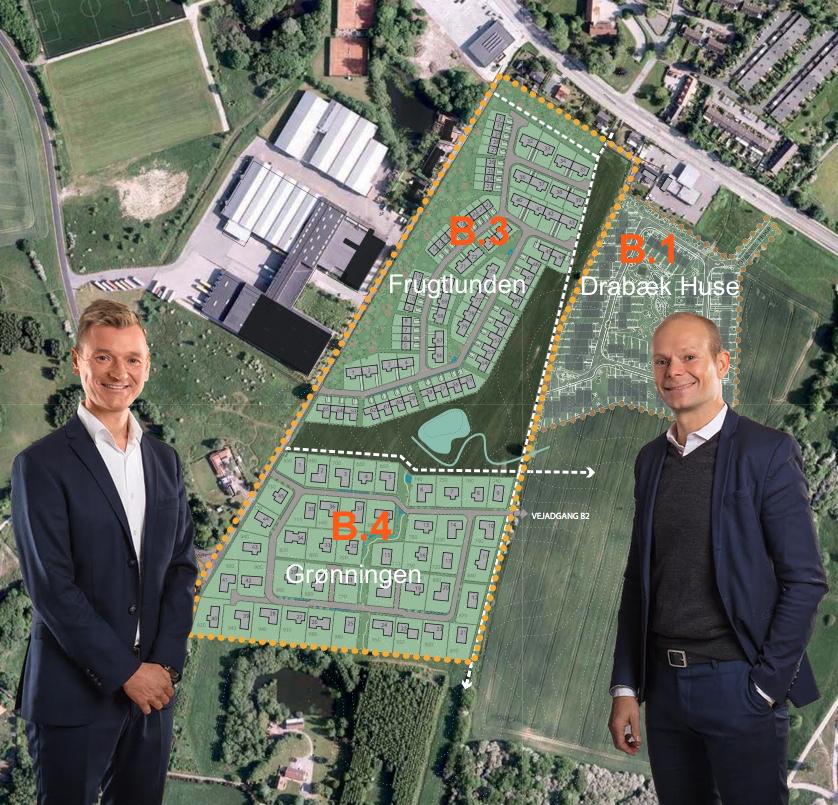 """Til venstre:Søren Due Hansen, som siger:""""Byggefelt B.4,'Grønningen',satser vi på, bliver Danmarks mest attraktive villaudstykning"""", og til højre:Jonas Berthelsen, der oplyser: """"Vores vision af B.3-bebyggelsen, 'Frugtlunden', er at skabe klassiskeog gennemlyste senior- og familieegnede boliger, der adskiller sig fra de boliger, der allerede sælges på B.1."""