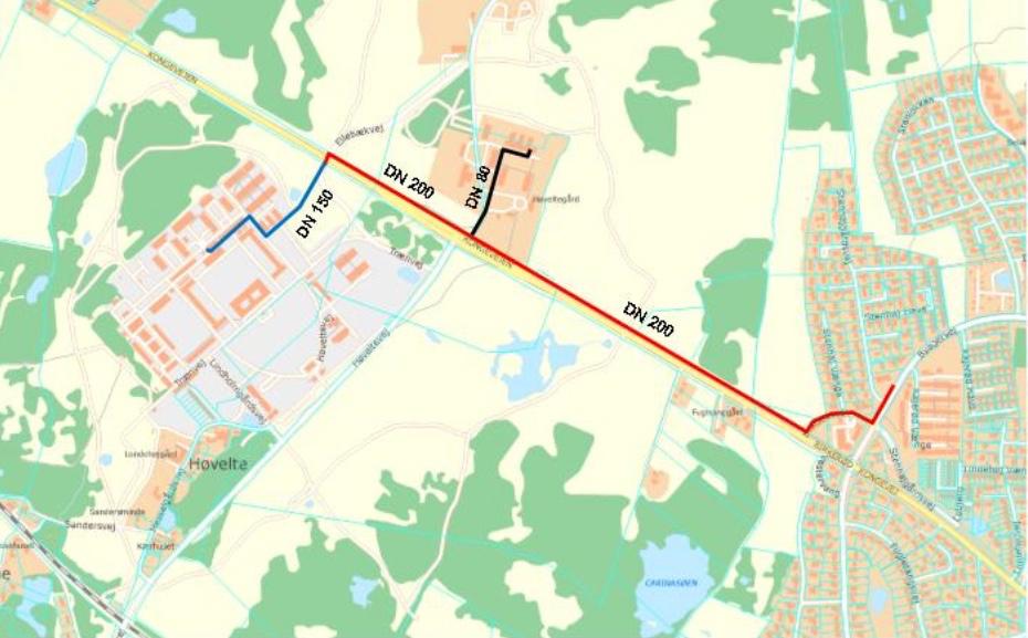 Da der skal graves langs Kongevejen fra Birkerød til Høvelte, vil det blive meget synligt, mens udførelsen står på. Rød ledning = forsyningsledning. Blå og sort ledning = stikledninger.