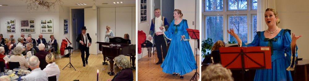 Der var flot underholdning fra Helikon, hvor Erling Dybkær og Maria Schou Petersen sang og optrådte akkompagneret af Teresa Stathakis ved flyglet. Foto: AOB