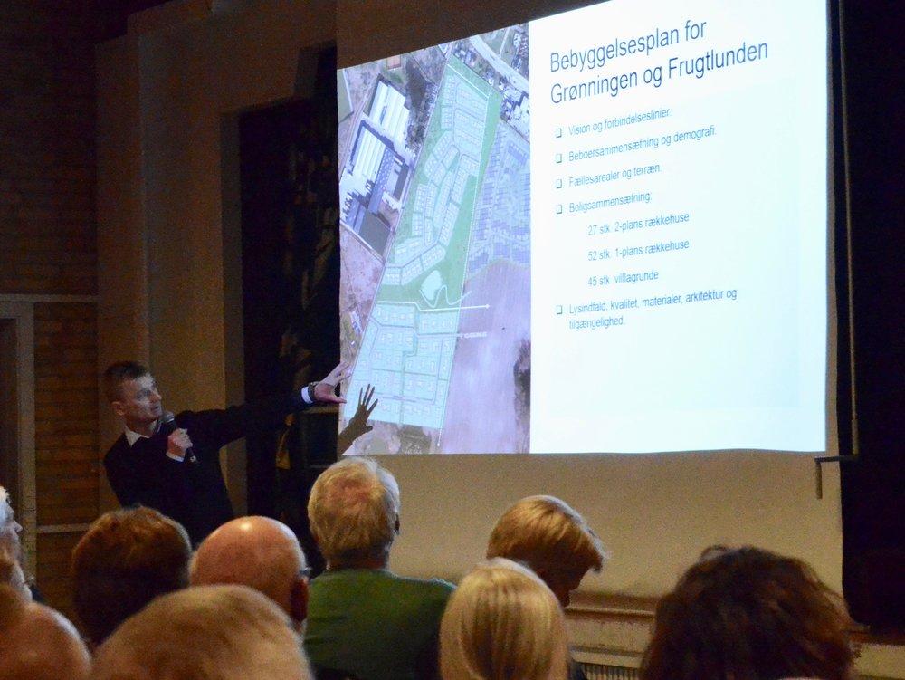 Land Development ved Søren Due Hansen lagde ud med at præsentere firmaets to projekter navngivet 'Grønningen' og 'Frugtlunden'. Foto: AOB