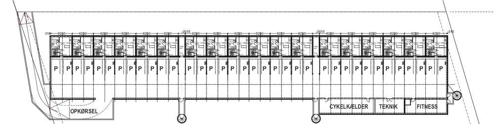 KÆLDERPLAN, som vise nedkørslen til parkeringskælderen.   Illustration: Frits Hansens Tegnestue. Tekster: AOB