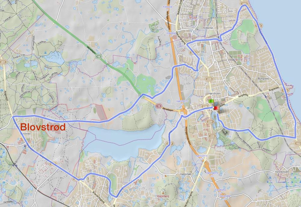 Denne rute er på 33 km og passerer Blovstrød på Kongevejen og Sandholmgårdsvej.