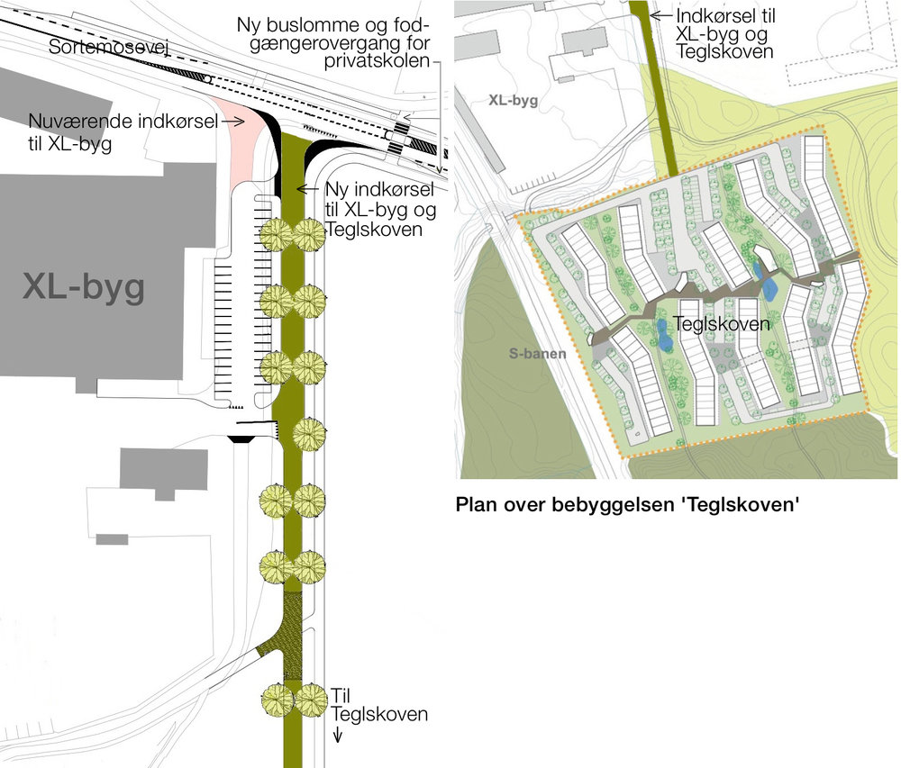 Som det fremgår af ovenstående planer, etableres der vejadgang til den nye bebyggelse 'Teglskoven' fra Sortemosevej.Adgangen bliver samtidig den nye indkørsel til XL-byg. Bemærk at der samtidig etableres en markeret fodgængerovergang umiddelbart øst for T-krydset og en buslomme på sydsiden af Sortemosevej. Tekster:AOB