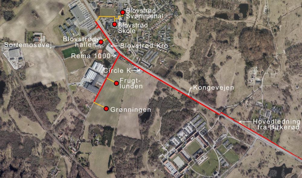 Forslag 2: Hovedforsyningsledningen føres langs Kongevejen med det til følge, at bl.a. supercykelstien skal brydes op igen fra Circle K og videre mod nord. Tekst:AOB