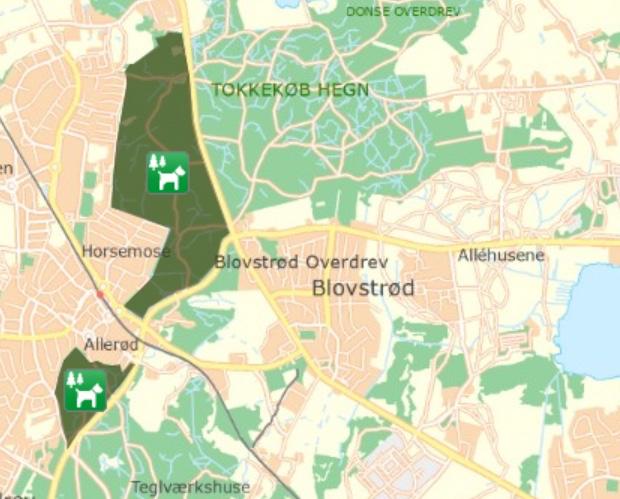Her ligger de to nærmeste hundeskove i forhold til Blovstrød.