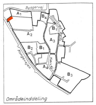 Lokalplan nr. 110 for den ældre del af Blovstrød. Kongevejen 28 (rød markering) er placeret i område A2.