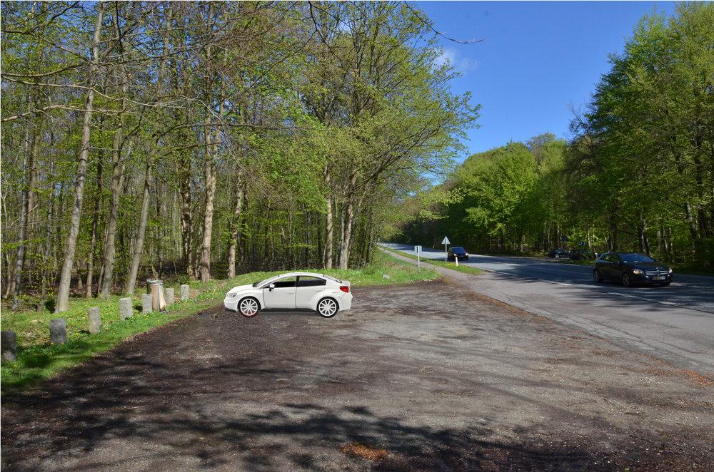 Ved Hundeskovens parkering ved Kongevejen var der i onsdags indbrud i en parkeret hvid Subaru,  medens ejeren luftede sin hund i skoven.   Temafoto: AOB