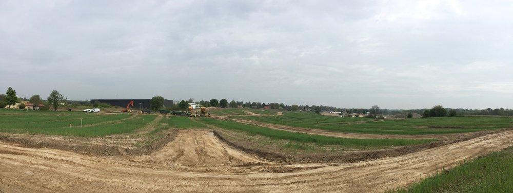 Nu kan man allerede klart fornemme   de grønne arealers størrelser og boligernes placering i relation til vejanlæggene. Foto: AOB