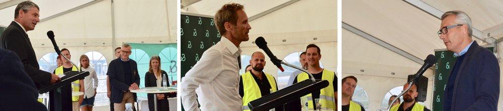 Borgmester Jørgen Johansen,arkitekt MAA Johnny Svendsorg og produktionsdirektør Per Thomas Dahl. Fotos: AOB
