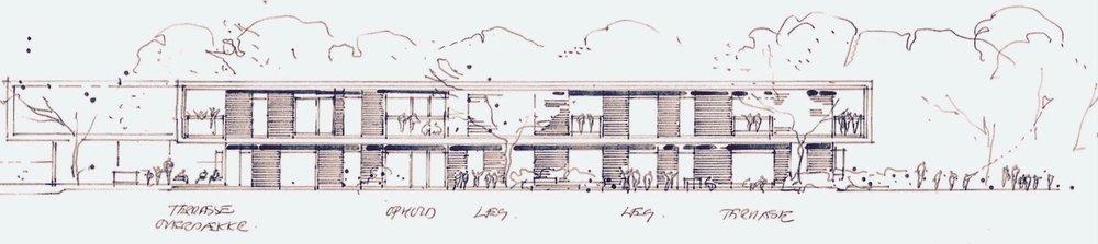 Skitseoplægget til Blovstrøds nye daginstitution er udarbejdet af Vilhelm Lauritzen Arkitekter. Her ses østfacaden ud mod boldbanen. Der arbejdes med to planer samt lille kælder. Illustration:VLA