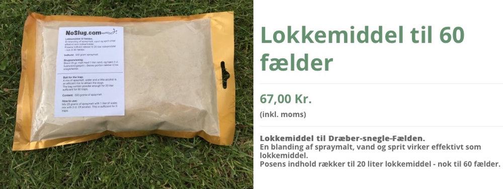 Man kan købe lokkemiddel (spraymalt)og færdige sneglefælder på nettet: noslug.com
