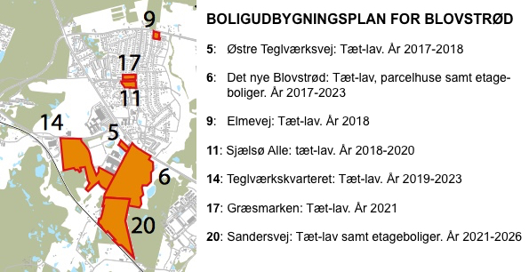 Boligudbygningsplanen for Allerød Kommune viser, at udbygningen af fremtidige boliger primært ligger i Blovstrød