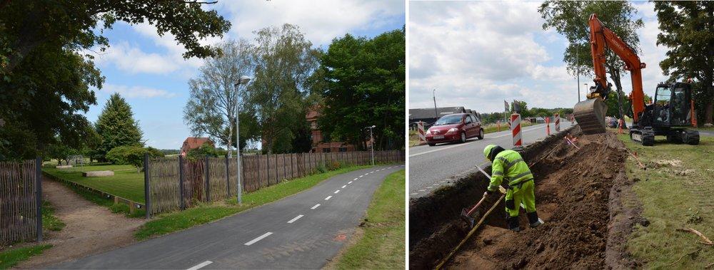 Bagvejen til skolen som fremover vil blive brugt flittigt. På nordsiden af Sortemosevej graves der ud til vejudvidelsen - ikke til en bus-lomme. Fotos: AOB