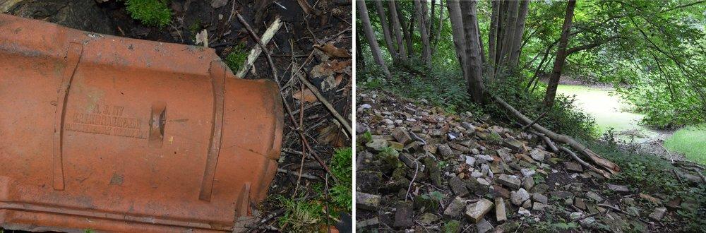 På den kasserede tagsten kan man læse, at den er fra Hammersholt Teglværk. Dele af området omkring søen kan være fyldt op med flere meter affald i form af tegl og mursten. Fotos: AOB